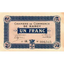 Nancy - Pirot 87-9 - 1 franc - Série 4K - 15/05/1916 - Etat : SUP