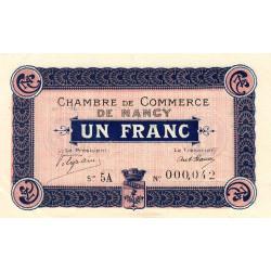 Nancy - Pirot 87-11 - 1 franc - Série 5A - 01/12/1916 - Petit numéro - Etat : SUP