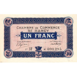 Nancy - Pirot 87-11 - 1 franc - Série 5T - 01/12/1916 - Etat : NEUF