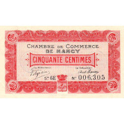 Nancy - Pirot 87-12 - 50 centimes - Série 6E - 01/04/1917 - Etat : SUP+