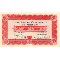 Nancy - Pirot 87-12 - 50 centimes - Série 6P - 01/04/1917 - Etat : SPL
