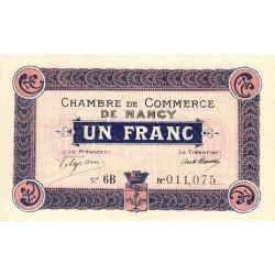 Nancy - Pirot 87-13 - 1 franc - Série 6B - 01/04/1917 - Etat : SUP+