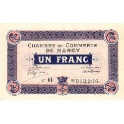 Nancy - Pirot 87-13 - 1 franc - Série 6U - 01/04/1917 - Etat : SUP+