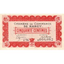 Nancy - Pirot 87-14 - 50 centimes - Série 7G - 01/09/1917 - Etat : TTB+