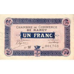 Nancy - Pirot 87-18 - 1 franc - Série 9F - 01/01/1918 - Etat : TTB+