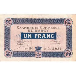 Nancy - Pirot 87-19 - 1 franc - Série 10C - Sans date (1918) - Etat : TTB