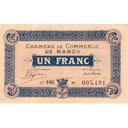Nancy - Pirot 87-19 - 1 franc - Série 10G - Sans date (1918) - Etat : TTB+