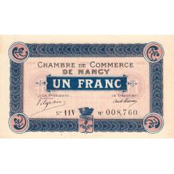 Nancy - Pirot 87-21 - 1 franc - Série 11V - 01/09/1918 - Etat : SPL