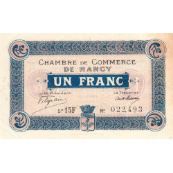 Nancy - Pirot 87-24 - 1 franc - Série 15F - 11/11/1918 - Etat : TTB