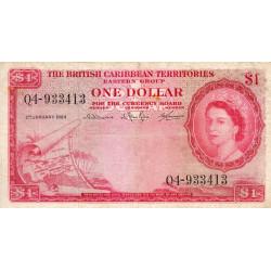 Territ. Anglais des Caraïbes - Pick 7c - 1 dollar - 1964 - Etat : TB+