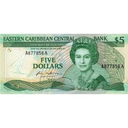 Est Caraïbes - Antigua - Pick 18a - 5 dollars - 1987 - Etat : NEUF