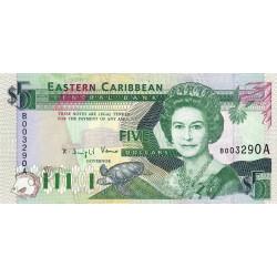 Est Caraïbes - Antigua - Pick 26a - 5 dollars - 1993 - Etat : SUP