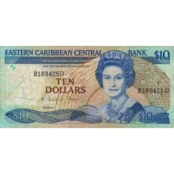 Est Caraïbes - Dominique - Pick 23d_2 - 10 dollars - 1989 - Etat : TB+