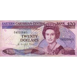 Est Caraïbes - Grenade - Pick 24g2 - 20 dollars - 1989 - Etat : TB+