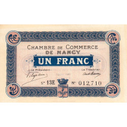 Nancy - Pirot 87-30 - 1 franc - Série 13E - 01/12/1918 - Etat : SPL à NEUF