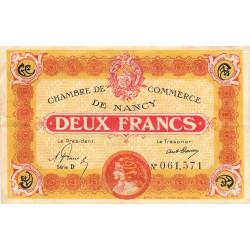 Nancy - Pirot 87-32 - 2 francs - Série D - 01/04/1919 - Etat : TB+