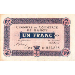 Nancy - Pirot 87-36 - 1 franc - Série 17B - 15/05/1919 - Etat : TTB