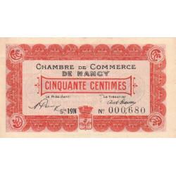 Nancy - Pirot 87-37 - 50 centimes - Série 19N - 01/01/1920 - Etat : SUP