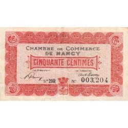 Nancy - Pirot 87-38 - 50 centimes - Série 20 R - 01/01/1920 - Etat : TB+