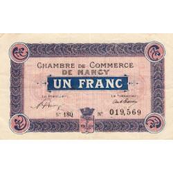 Nancy - Pirot 87-39 - 1 franc - Série 18Q - 01/01/1920 - Etat : TTB