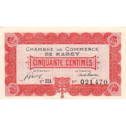 Nancy - Pirot 87-40 - 50 centimes - Série 22A - 01/05/1920 - Etat : SPL