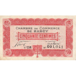 Nancy - Pirot 87-41 - 50 centimes - Série 23M - 01/05/1920 - Etat : TTB+