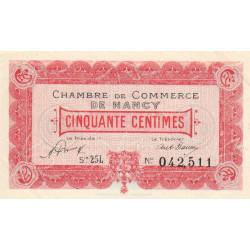 Nancy - Pirot 87-43 - 50 centimes - Série 25 L - 01/01/1921 - Etat : SUP à SPL