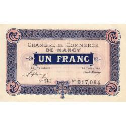 Nancy - Pirot 87-44 - 1 franc - Série 24I - 01/01/1921 - Etat : SPL