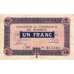 Nancy - Pirot 87-45 - 1 franc - Série 26P - 01/01/1921 - Etat : TB+