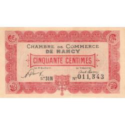 Nancy - Pirot 87-47 - 50 centimes - Série 31M - 01/01/1921 - Etat : SUP+