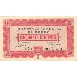 Nancy - Pirot 87-47 - 50 centimes - Série 31V - 01/01/1921 - Etat : SUP