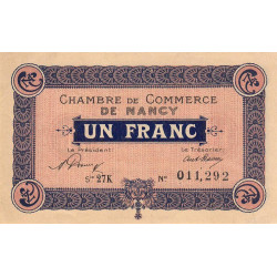 Nancy - Pirot 87-49 - 1 franc - Série 27K - 01/01/1921 - Etat : SUP+