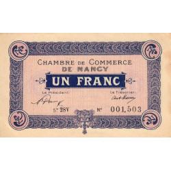 Nancy - Pirot 87-50 - 1 franc - Série 28V - 01/01/1921 - Etat : SUP