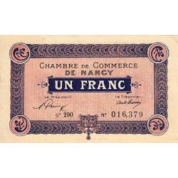 Nancy - Pirot 87-51 - 1 franc - Série 29O - 01/01/1921 - Etat : TB+