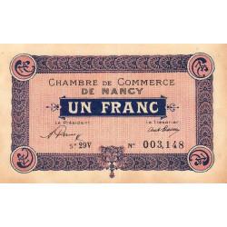 Nancy - Pirot 87-51 - 1 franc - Série 29V - 01/01/1921 - Etat : SUP