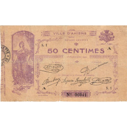 80 - Ville d'Amiens - Pirot 7-1 - 50 centimes - Série 1A - Etat : TB-