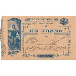 80 - Ville d'Amiens - Pirot 7-2 - 1 franc - Série 1B - Etat : SUP