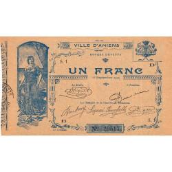 80 - Ville d'Amiens - Pirot 7-2 - 1 franc - Série 1B - Etat : SPL à NEUF
