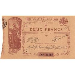80 - Amiens (Ville d') - Pirot 7-3- 2 francs - Etat : TTB+