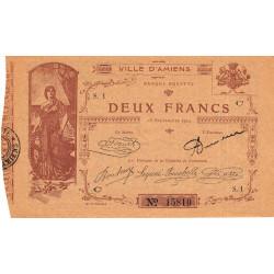 80 - Amiens (Ville d') - Pirot 7-3- 2 francs - Etat : SPL à NEUF