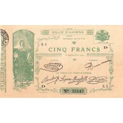 Amiens - Pirot 7-4 - 5 francs - Série S.1 D - 15/09/1914 - Etat : TB+