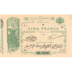 Amiens - Pirot 7-4 - 5 francs - Série S.1 D - 15/09/1914 - Etat : TTB+