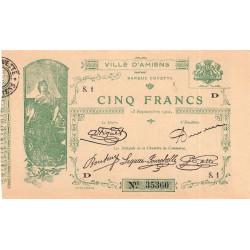 Amiens - Pirot 7-4 - 5 francs - Série S.1 D - 15/09/1914 - Etat : SUP+