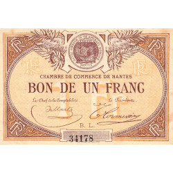 Nantes - Pirot 88-20 - 1 franc - Série B.L. - Sans date - Etat : TTB+ à SUP