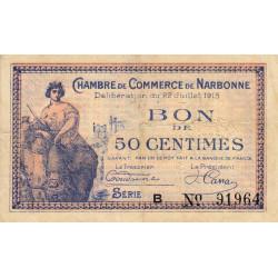 Narbonne - Pirot 89-1 - 50 centimes - Série B - 22/07/1915 - Etat : TB+
