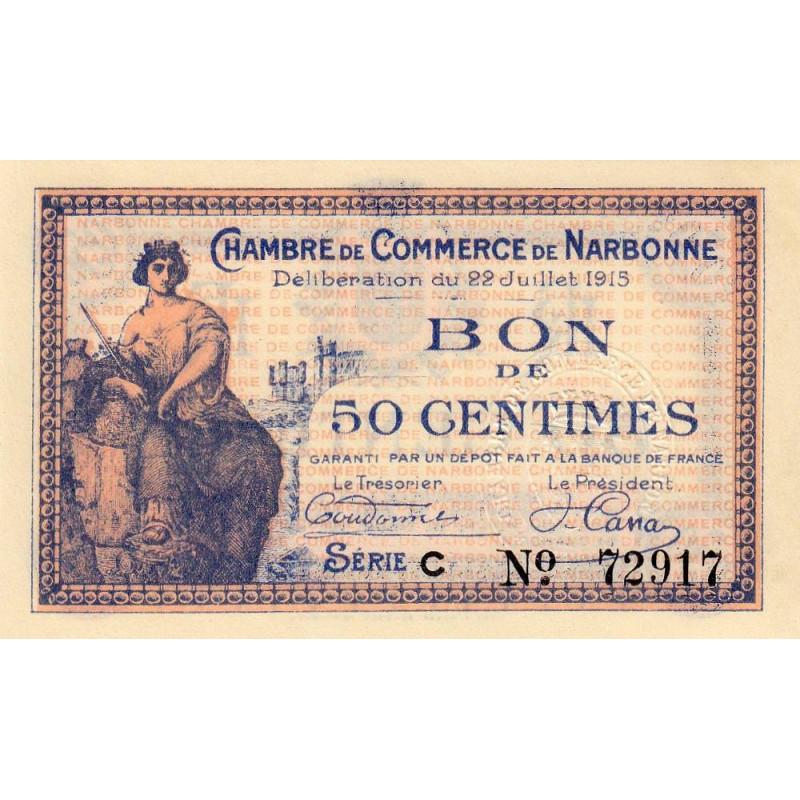Billet des chambres de commerce narbonne 50 centimes - Chambre des commerces strasbourg ...