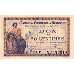 Narbonne - Pirot 89-1 variété - 50 centimes - Série C - 22/07/1915 - Etat : SPL à NEUF