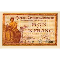 Narbonne - Pirot 89-2 - 1 franc - Série A - 22/07/1915 - Etat : NEUF