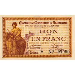 Narbonne - Pirot 89-2 - 1 franc - Série A - 22/07/1915 - Etat : SPL