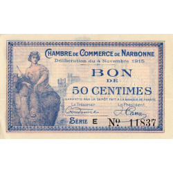Narbonne - Pirot 89-3 - 50 centimes - Etat : SUP+